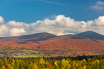 Mountains and Farmlands in Fall, Northeast Kingdom, View from Barton, VT