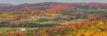 Vermont Farmland and Woodlands in Fall, Northeast Kingdom, View from Barton, VT