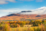Low Clouds Blanketing Summits of Mountains in Green Mountain National Forest in Fall, View from Warren, VT
