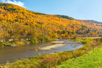 White River and Mountainside of Fall Foliage, Rochester, VT