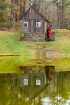 Vermont Country Store Grist Mill Reflecting in Small Pond, Built 1808, Rockingham, VT