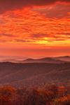 Sunrise over Blue Ridge Mountains in Autumn, View from Skyline Drive, Shenandoah National Park, Rappahannock County, VA