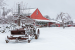 Old Snow-covered Wagon and Red Barn at Red Apple Farm, Phillipston, MA