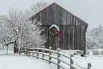 Natural Wood Barn with Lit Holiday Wreath in Winter, Marlboro, VT