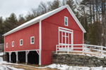 Big Red Barn with Stone Wall and Fence in Winter, Monson, MA