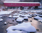 West Cornwall Covered Bridge (Built 1841) over Housatonic River in Winter, West Cornwall, CT