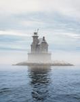 Race Rock Lighthouse in Fog, Long Island Sound, Long Island, Southold, NY