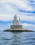 Race Rock Lighthouse in Light Mist, Long Island Sound, Long Island, Southold, NY