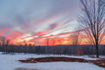 Colorful Sunset over Meadow in Winter, Royalston, MA