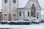 Close Up of United Methodist Church of Litchfield in Snowstorm, Litchfield, CT