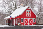 Red Barn at Phoenix Organic Farm in Winter, Cromwell, CT