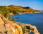 Early Morning Light in Fall, View from Otter Cliffs out to Gorham Mountain, Champlain Mountain and The Beehive, Acadia National Park, Mt. Desert Island, Bar Harbor, ME