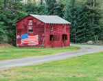 Old Red Barn with American Flag Painted on Side, Adirondack Park, Lake George, NY