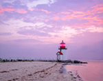 Brant Point Light at Sunrise, Nantucket Harbor, Nantucket, MA