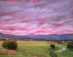 Sunset over Camels Hump Mountain and Rural Farmland, Richmond, VT