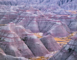 Colorful Clay and Soils on Buttes and Spires, View from Big Badlands Overlook, Badlands National Park, SD