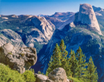 View of Half Dome and Sierra Nevada Mountains from Washburn Point Overlook, Yosemite National Park, CA