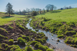 Small Creek Flows through Rolling Farmlands in Virginia Piedmont Region, Bedford County, Joppa Mill, VA