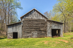 Old Weathered Log and Wood Barn in Spring, Piedmont Region, Bedford County, Goode, VA