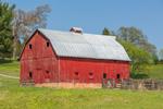 Big Red Gambrel Barn in James River Valley in Spring, Piedmont Region, Nelson County, Norwood, VA