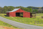 Red Barn along Country Road in James River Valley in Spring, Piedmont Region, Nelson County, Norwood, VA