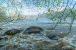 Rocks, Rapids, and Early Morning Mist on South Fork Broad River in Spring, Watson Mill Bridge State Park, Piedmont Region, Madison County, Comer, GA