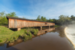 Early Morning Light Shines on Watson Mill Bridge and Dam (Est. 1885) on South Fork Broad River in Spring, Watson Mill Bridge State Park, Piedmont Region, Madison County, Comer, GA