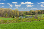 Green Rolling Hills, Pond, and Farm Fields in Spring, Piedmont Region, Lincoln County, Lincolnton, NC