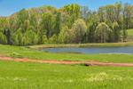 Woodlands, Farm Fields and Pond in Spring, Piedmont Region, Oconee County, Fair Play, SC