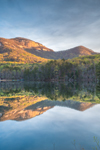 Early Morning Light Shines on Table Rock Mountain and The Stool Reflecting in Pinnacle Lake in Spring, Table Rock State Park, Pickens County, Pickens, SC
