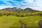Fields and Small Stream with Table Rock Mountain and The Stool in Spring, View from Cherokee Foothills Scenic Highway, Pickens County, Pickens, SC