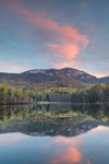 Table Rock Mountain Reflecting in Pinnacle Lake at Sunrise in Spring, Table Rock State Park, Pickens County, Pickens, SC