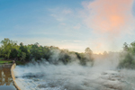 Early Morning Mist and Fog Rising from South Fork Broad River at Sunrise in Spring, Watson Mill Bridge State Park, Piedmont Region, Madison County, Comer, GA