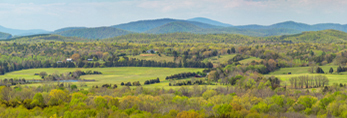 View of Blue Ridge Mountains and James River Valley Farmlands in Spring, Piedmont Region, Buckingham County, Warminster, VA