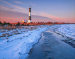 Fire Island Lighthouse and Shoreline in Winter, Great South Bay, Fire Island National Seashore, Long Island, Islip, NY