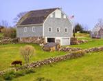 Big Gray Barn and Stone Walls, Block Island, RI
