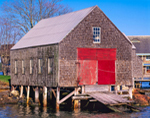 Cedar-shingled Boat House with Red Doors at J.O. Brown & Son Boat Yard, North Haven Island, North Haven, ME
