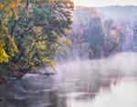 Early Morning Fog Rising on Farmington River in Fall, Simsbury, CT