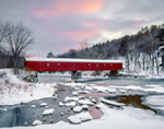 Sunset at West Cornwall Covered Bridge (Built 1841) over Housatonic River in Winter, West Cornwall, CT
