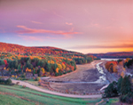 View of McDonough Dike from Saville Dam at Sunset in Fall, Barkhamsted, CT
