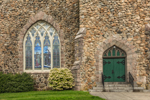 Close Up of Stained Glass Window and Door on Groton Congregational Church, Built 1902, Groton, CT