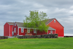 Red Barns and Stone Wall in Spring, Canterbury, CT