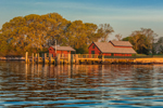 Dock and Boat Houses in Early Morning Light on Uncatena Island at Hadley Harbor, Elizabeth Islands, Town of Gosnold, MA