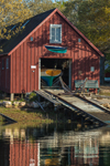 Red Boat House in Early Morning with Reflections in Hadley Harbor, Naushon Island, Elizabeth Islands, Town of Gosnold, MA