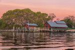 Dock and Boat Houses at Sunrise on Uncatena Island at Hadley Harbor, Elizabeth Islands, Town of Gosnold, MA