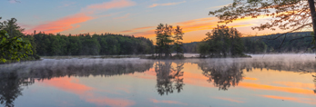Early Morning Fog on Harvard Pond at Dawn, Petersham, MA