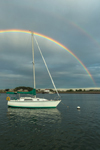 Double Rainbow over Sailboat in Scituate Harbor, Scituate, MA