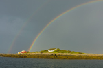 Double Rainbow and Dark Storm Clouds over Cedar Island, Isles of Shoals, Kittery, ME