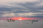 Sunset with Storm Clouds over Boats in Gosport Harbor, Isles of Shoals, Kittery, ME