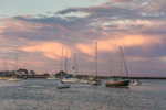Sunset over Boats in Scituate Harbor with Scituate Lighthouse in Background, Scituate, MA